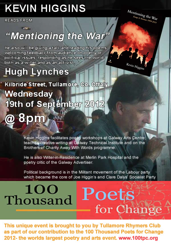 Event – Kevin Higgins reading at Tullamore Rhymers Club event.