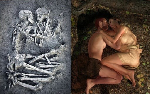 "The ""Lovers of Valdaro"". This burial of a young man and woman, lying face to face, with their arms and legs entwined in an apparent eternal embrace was discovered by archaeologists near Mantua in Italy. The burial, which dates from the Neolithic period, was excavated as a single block so the two 'lovers' would not have to be separated. Thanks to Massimiliano for the notification. - from Irisharchaeology.ie"