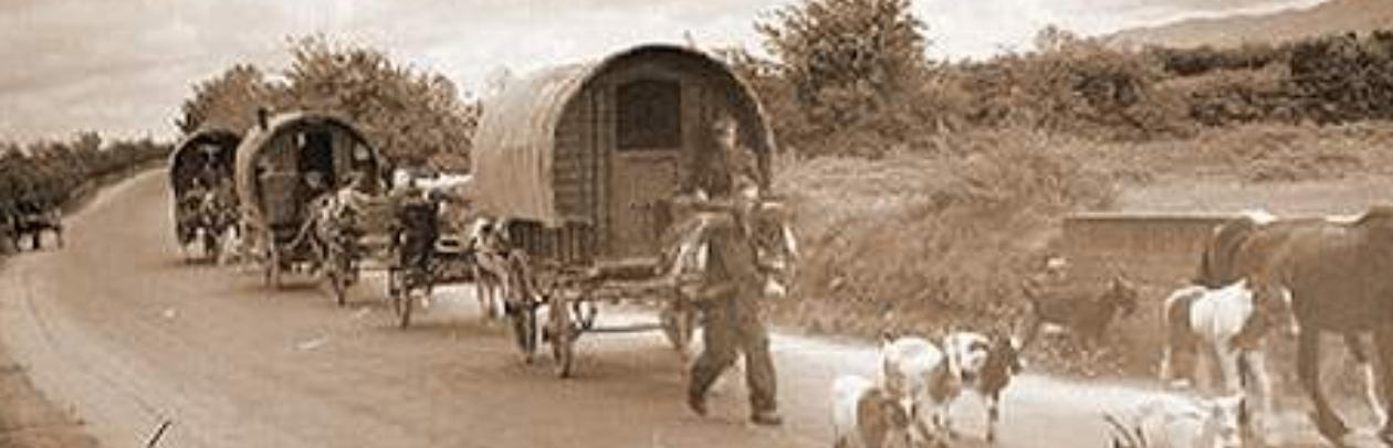"""Gypsies on the Road. """"The sky is our ceiling, hte land our garden"""" - old Romany proverb"""