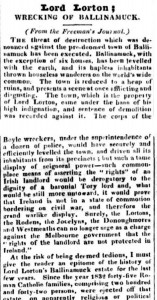Article on the Ballinamuck evictions, quoted from the Freemans Journal by the Australian newspaper Australasian Chronicle (Sydney, NSW ), Friday 13 September 1839