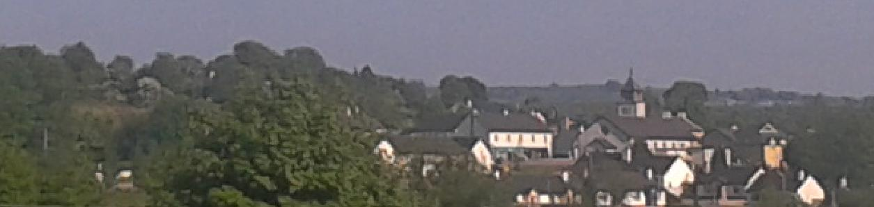 The Village of Ballinamuck in Longford, the chapels spire can be seen which stands on the site of the mud walled church that was saved from the wrecking crew.