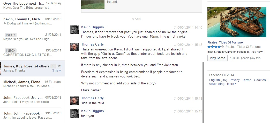 Kevin Higgins Facebook Message