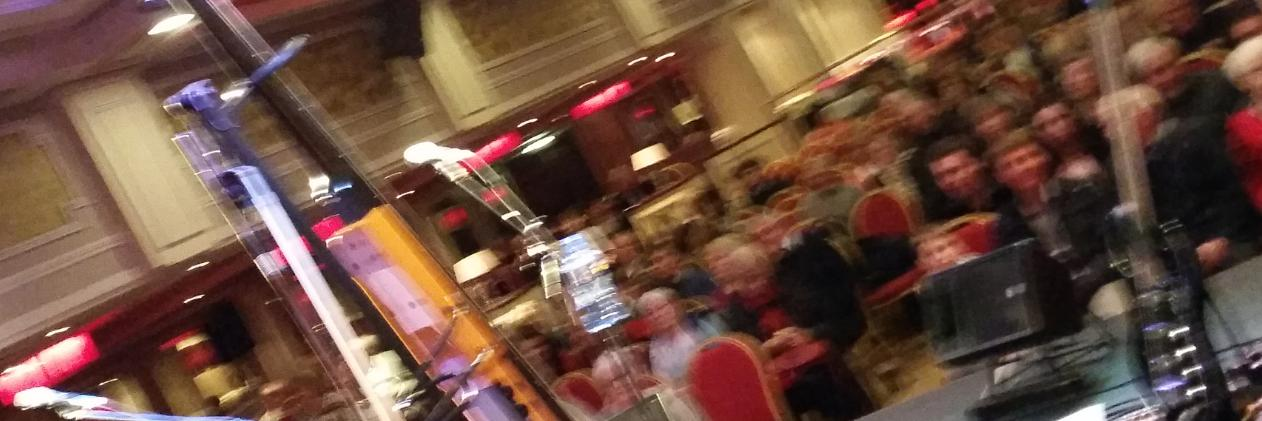 A quick if blurry shot through the curtains as the crowd wait for Tullamore Rhymers Club to open for The Fureys