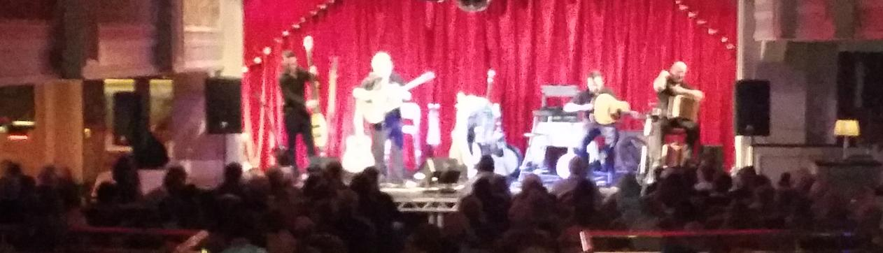 The Fureys take to the stage thanking the Tullamore Rhymers for opening their gig at The Bridge House