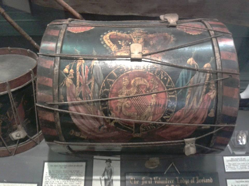 Royal Dublin Volunteers drum on display in the Masons Hall in Dublin. The Volunteers were originally set up to protect the island from imminent invasion, but in time due to the injustices in trade and social laws, the Volunteers saw many if not most take up arms with the United Irishment in 1798.