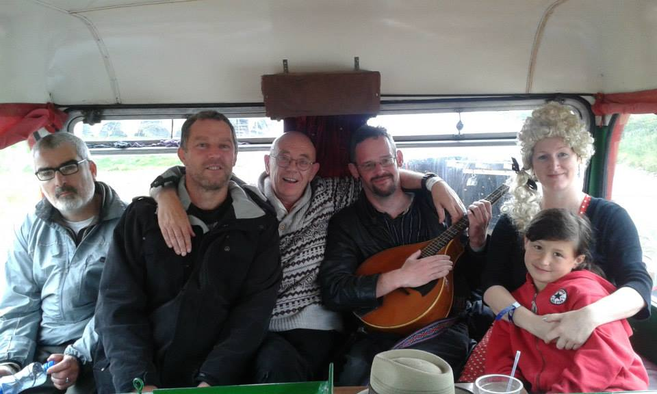 The Rhyming Bandits - Tullamore Rhymers Club and Guests at The Scene of the Rhyme on the Eco Bus Café at the Valentia Island Festival