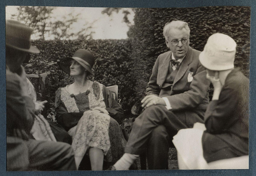 Walter de la Mare and Bertha Georgie Hyde-Lees Yeats with William Butler Yeats and an unknown woman in summer 1930 in photo by Lady Ottoline Morrell