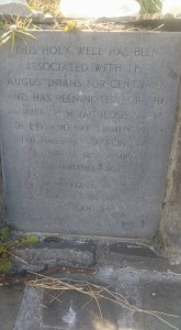 Plaque at St Augustines Holy Well in Galway