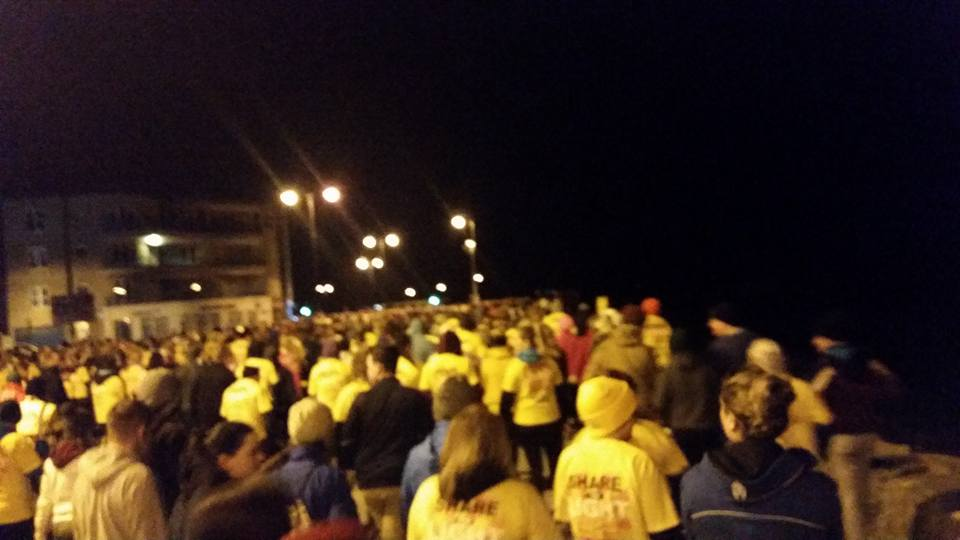 Walking towards the Claddagh from Salthill at the Darkness into Light walk for the prevention of suicide and in aid of Pieta House this morning.