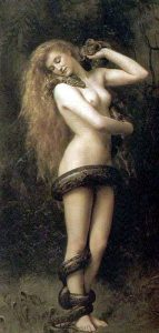 "Lillith - the first wife of Adam. Painting is ""Lilith"" by  John Collier  1887 (The Atkinson Art Gallery, Southport, England)"
