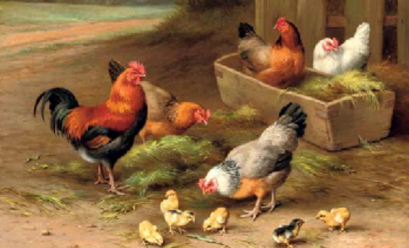 """Farmard Chickens"" by Edgar Hunt 1876-1955 dated to the 1920s"