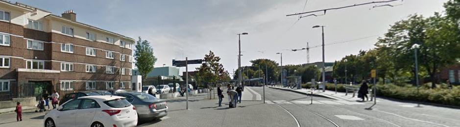 At St James Tramstop Dublin - Image from the Google StreetView, the tramstop is on the right