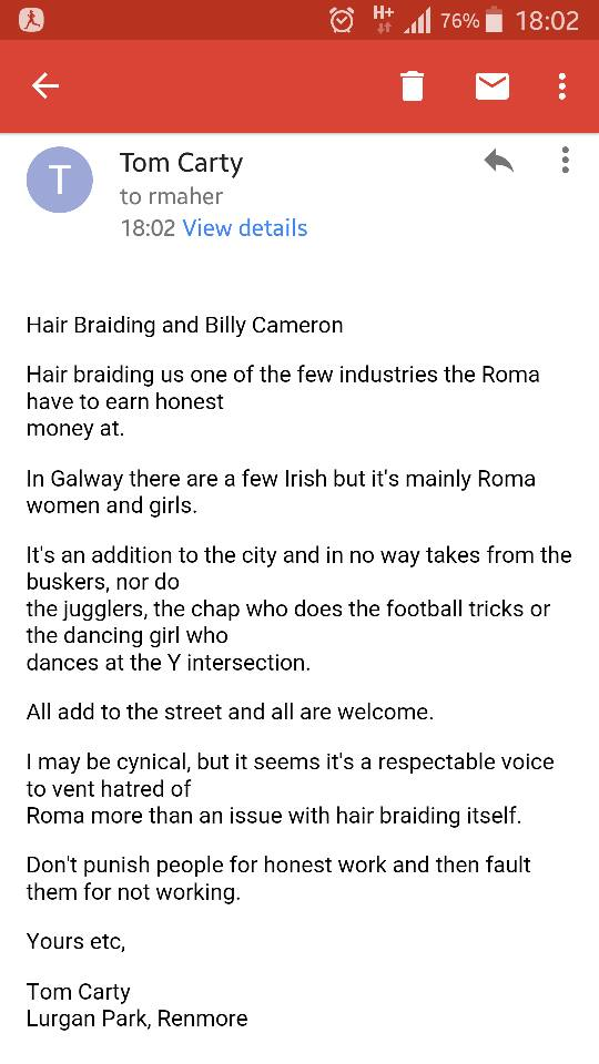 My letter to the Galway Independent supporting the hair braiders
