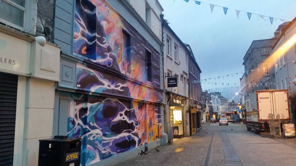 Shop Street in Galway city centre the infamous graffitti mural is on the left