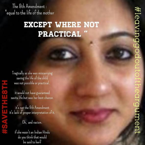 Savita Halappanavar - her death led to an anti Catholic Marianesque demonstrations in favour of abortion