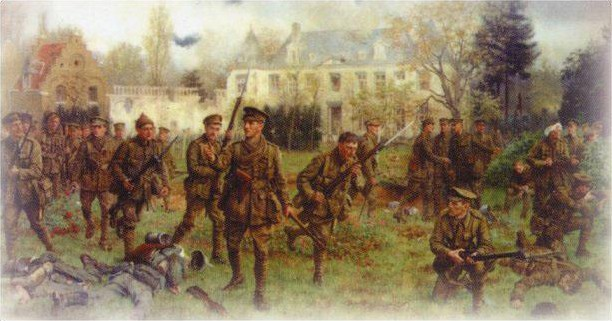 The Second Battalion of the Worcesters did not know that the Welsh were still left, and were delighted and surprised to find them in the Chateau, before they advanced and retook the village under the leadership of John Dopping Boyd