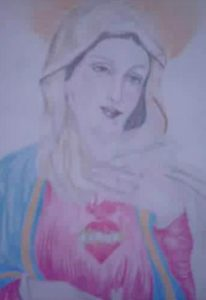 Santa Maria - Our Lady and Her Sacred Heart - Slovak Romany folk drawing. Artist pseudonom is Rastislav Prvi