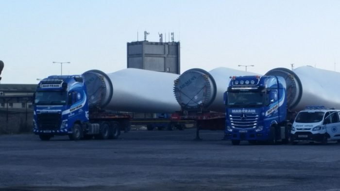 Wind turbine blades at Galway Port - one of the better parts of Enda Kennys political legacy