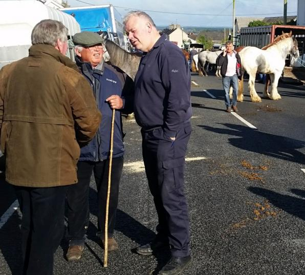 Michael Fitzmaurice TD talking to Miley Cash of Birr and other traders on his visit to the 2017 Banagher Horse Fair